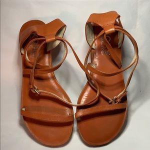 Michael Kors Burnt Orange Crisscross Strap Sandals